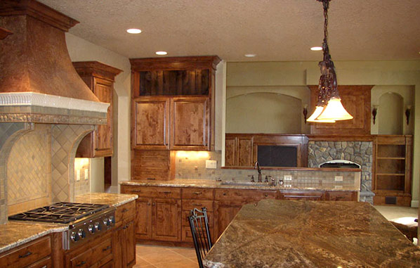 Knotty Alder Kitchen and Entertainment Center